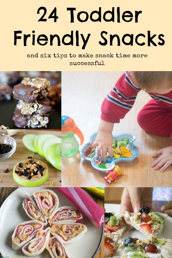 24 delicious and easy toddler snack ideas, as well as six tips to make snack time more successful. Can't wait to try a few of these myself!