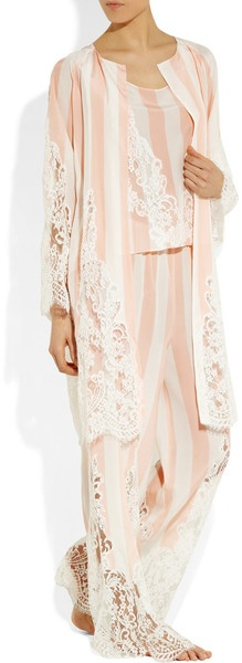 Rosamosario Lavvocato Striped Silk and Chantilly Lace Pajama Pants in Pink | Lyst