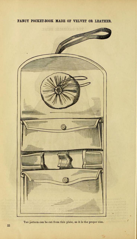 """1862 Godey's. """"Fancy pocket-book made of velvet or leather."""""""