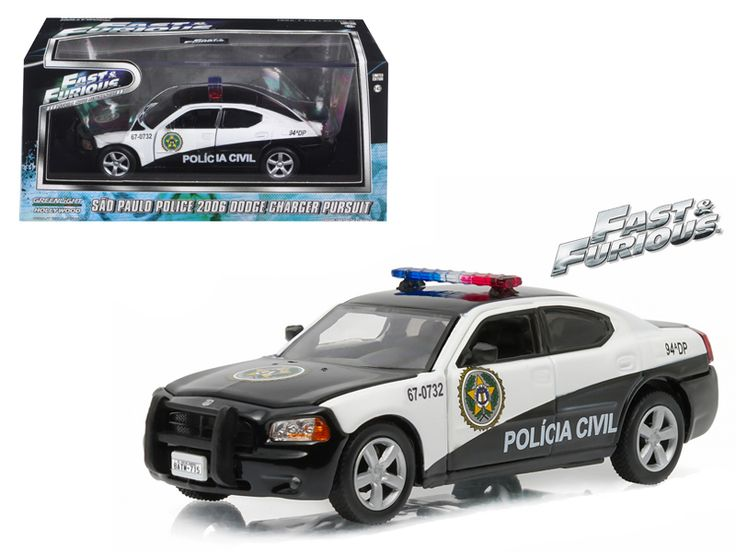 "2006 Dodge Charger Rio Police ""Policia Civil"" Fast and Furious Fast Five Movie (2011 ) 1/43 Diecast Model Car by Greenlight - Brand new 1:43 scale diecast car model of 2006 Dodge Charger Rio Police ""Policia Civil"" Fast and Furious Fast Five Movie (2011 ) die cast car model by Greenlight. Rubber tires. Brand new box. Limited Edition. Has steerable wheels. Has opening hood, doors and trunk. Detailed interior, exterior. Comes in plastic display showcase. Dimensions approximately L-5 inches…"