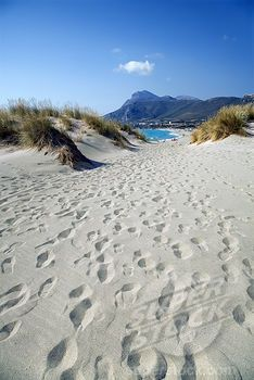 Footprints on the beach, Falassarna, Chania, Crete, Greece