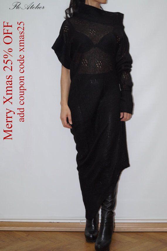 Asymmetrical Sweater/Sweater with One Sleeve/Black Asymmetrical Sweater/ Top Sweater Dress/Knitwear Dress/Long Women Wool Sweater Coat/F1250 by FloAtelier on Etsy https://www.etsy.com/listing/199885610/asymmetrical-sweatersweater-with-one