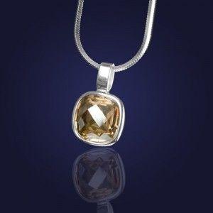Biżuteria srebrna .Wisiorek srebrny z kryształem Swarovskiego w kolorze Golden Shadow-elegancki złoty odcień.