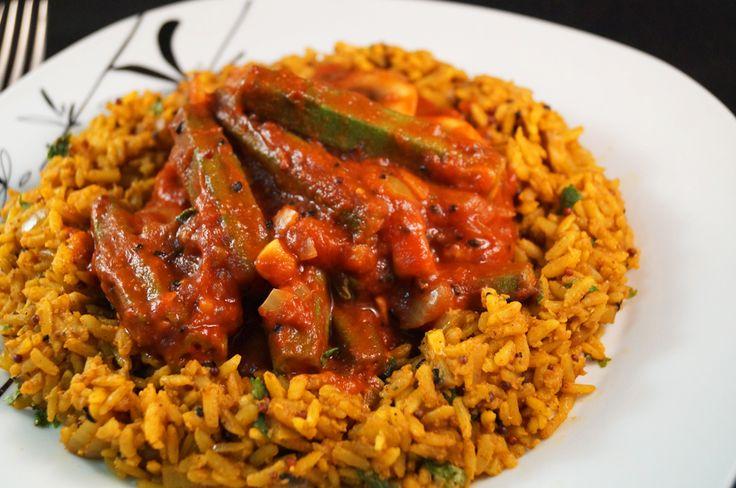 Bhindi Bhaji with Mushroom Biryani (Okra Curry)