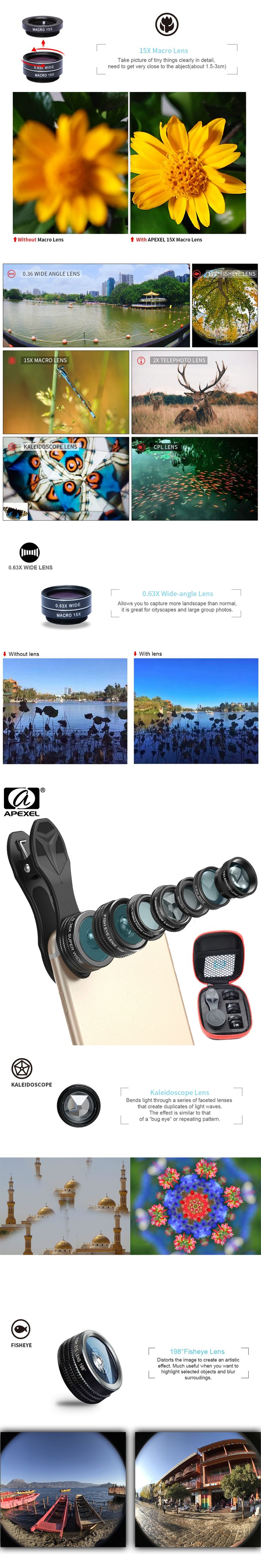 APEXEL 7 in 1 Phone Camera Lens Kit Fish Eye Wide Angle/macro Lens CPL Kaleidoscope and 2X telephoto zoom Lens for iPhone5/6s/7
