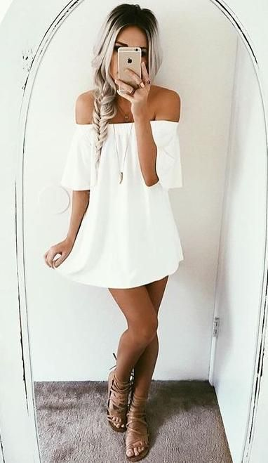 white off shoulders summer dress. I would wear with my boots or wedges or even sandals...love WHITE
