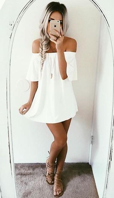 white off shoulders summer dress.