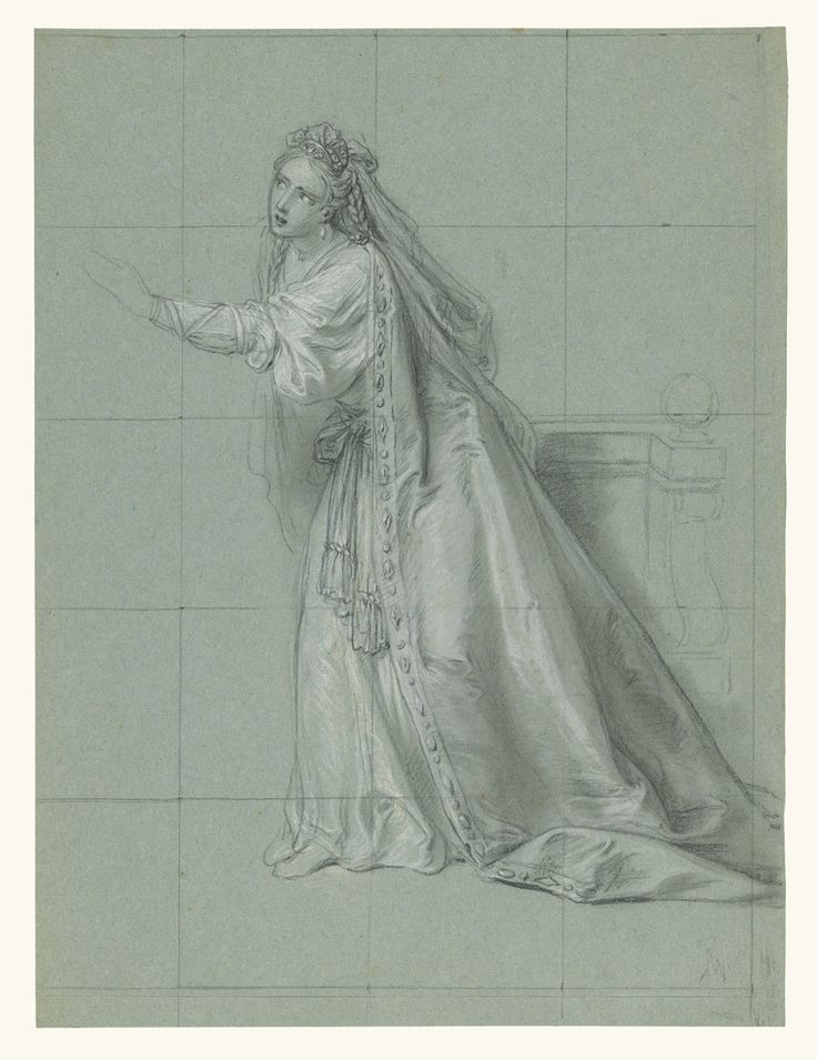 Study of a Woman (Rodugune) Turned toward the Left; Charles-Antoine Coypel (French, 1694 - 1752); about 1749; Black and white chalk on blue-gray paper; squared in black chalk; 43.8 x 32.9 cm (17 1/4 x 12 15/16 in.); 97.GB.32; J. Paul Getty Museum, Los Angeles, California