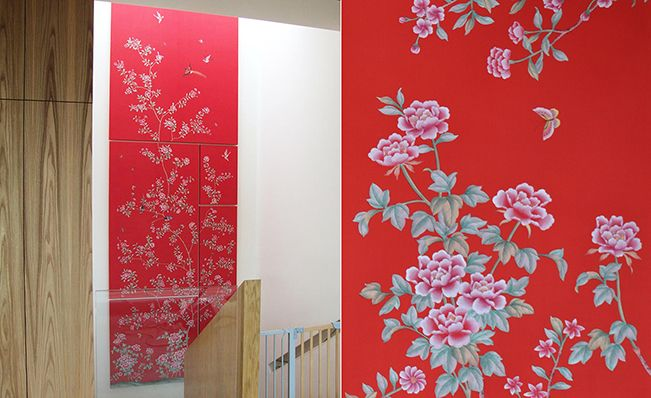 Modern chinoiserie 'Red Peonies' by Misha wallpaper: Designer Massimo Curzi featured hand painted wallpaper Red Peonies on Rosso Vermiglio silk in the entrance of a client's home in Milan, Italy.