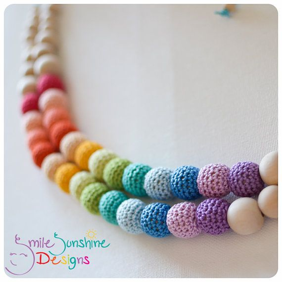 Crochet Bead and Wood Teething Necklace or Nursing Necklace - Soft, Snuggly and Chewable - Rainbow Shine Smile Sunshine Designs