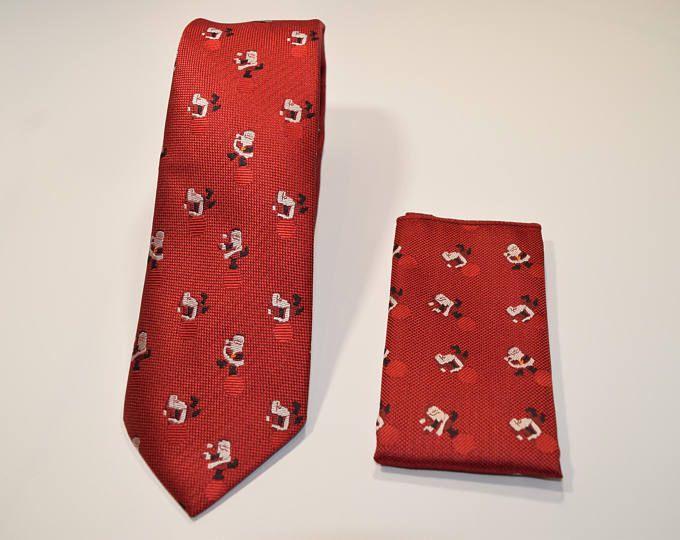Set Corbata y pañuelo rojo oscuro de navidad con dibujos Santa Claus, corbatas para hombre, regalo fiestas de navidad, regalo de San Nicolás