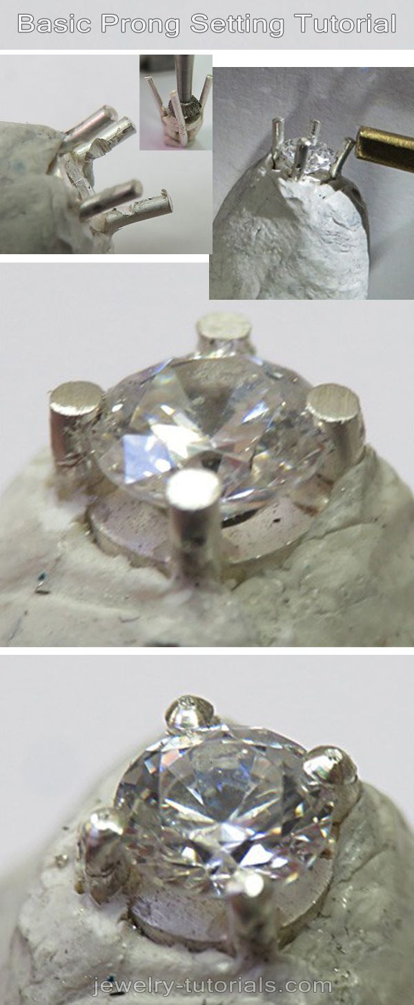 FREE - Basic Prong Stone Setting Tutorial - Many jewelry designs and some of my tutorials involve wire prong settings, so I made this free setting tutorial as an overview to help metalsmiths complete their projects more easily. #jewelrymaking  #tutorial    metalsmithing, silver, jewelry making tutorial, gemstone setting, prongs, fastening gems, claw setting