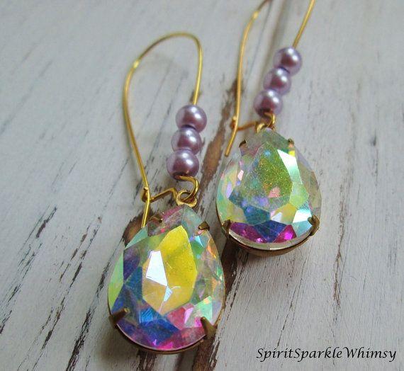 Aurora Borealis Rhinestone Earrings by SpiritSparkleWhimsy on Etsy