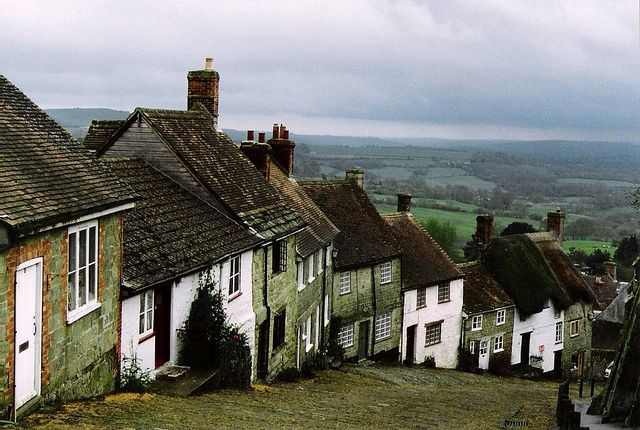 "The street is called ""Gold hill"", it's in the town of Shaftesbury, in Dorset county, England.  Late afternoon, April 1993."