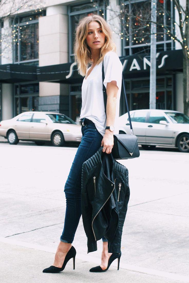 dark jeans, black heels, white tee , black jacket