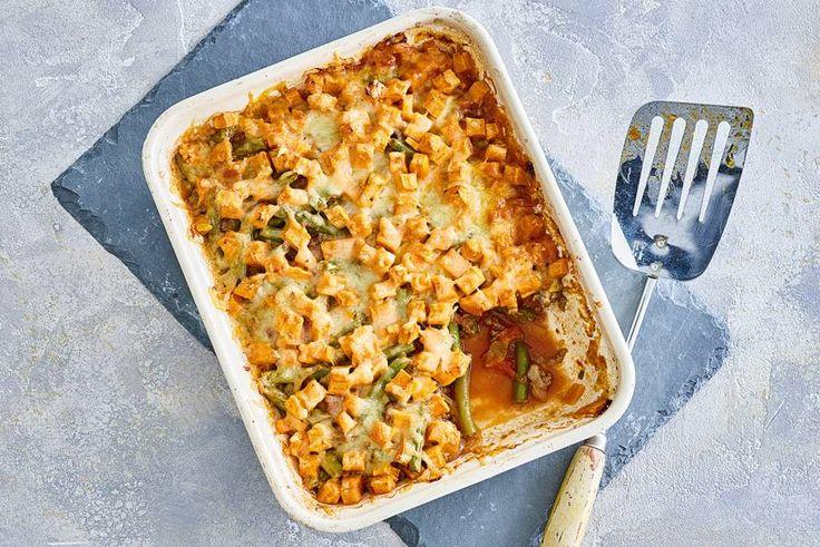 9 november 2017 - Sperziebonen + zoete aardappel in de bonus = Gehaktschotel met een dakje van zoete aardappel - Recept - Allerhande