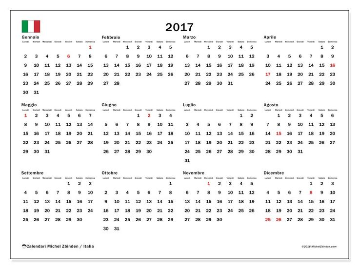 Gratis! Calendari per  2017 da stampare - Italia