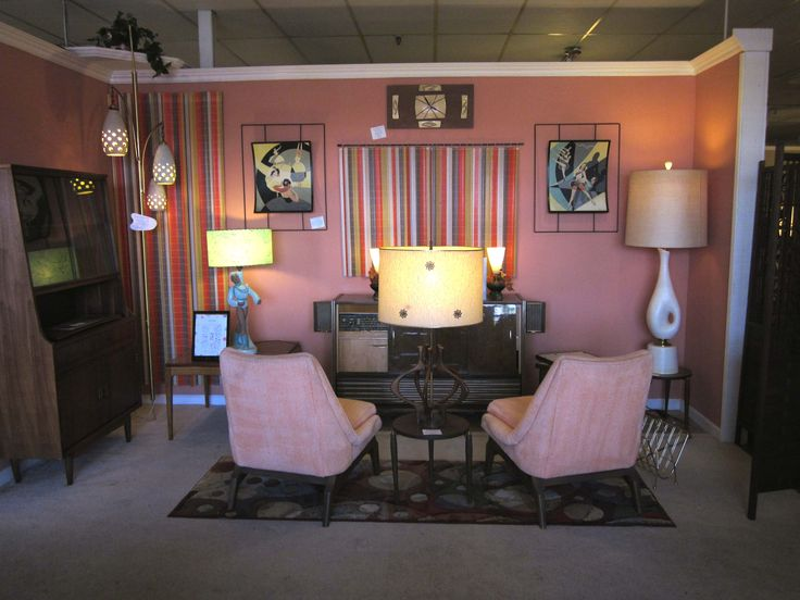 Mid Century pink living room display