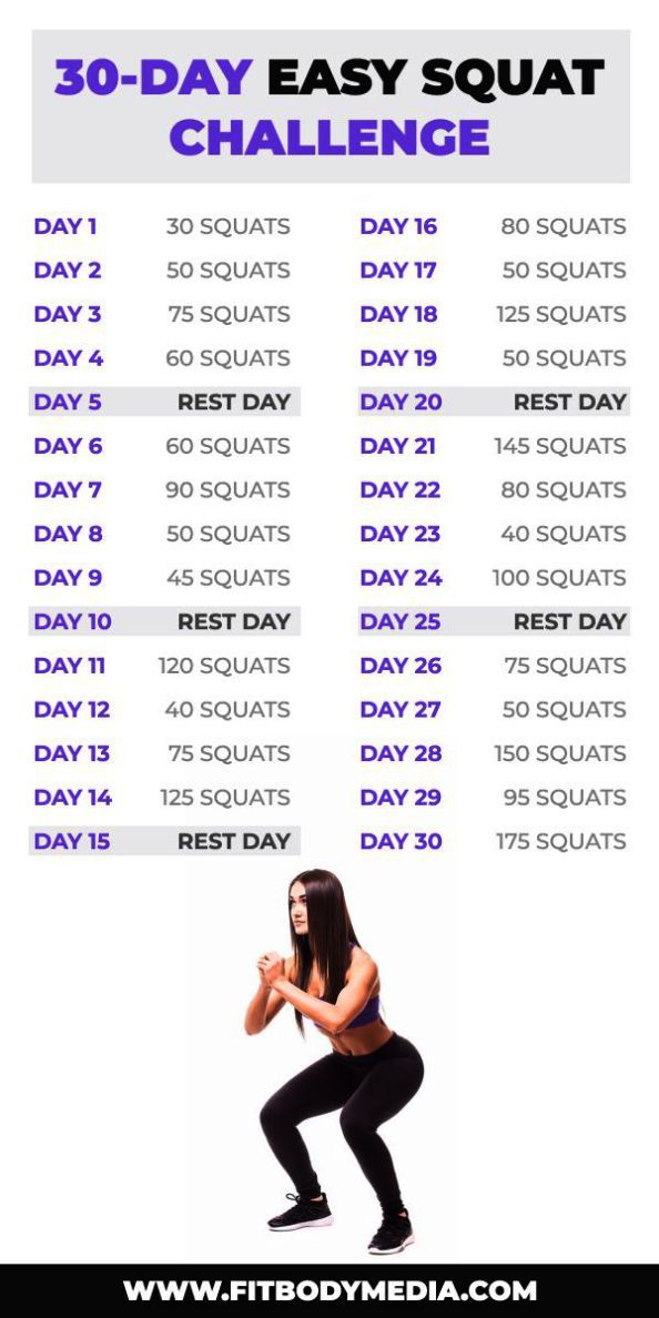 Getfitnesshelp Com Squat Challenge Easy Workouts 30 Day Workout Challenge