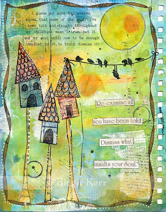 art journaling house - Love the playfulness of the birds on a wire between the birdhouse peak and the border!