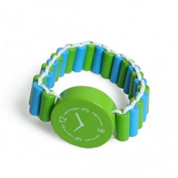 Horloge, hout, blauw/groen