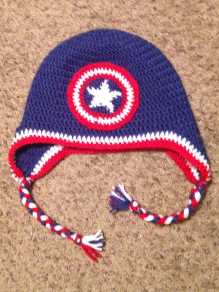 ✬  ✬ Chapéu Crochetar Captain America personalizado -   / ✬   ✬ Captain America Crochet Hat Custom -