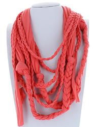 Coral Braided Infinity Scarf