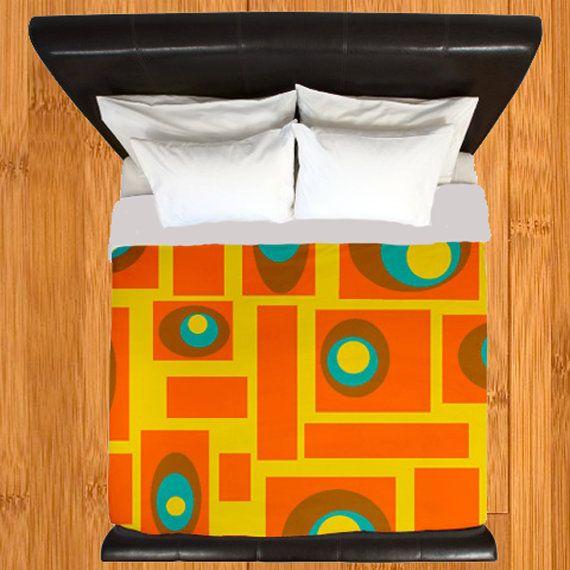 Modern Duvet Cover,Retro Duvet Cover,Geometric Duvet Cover,Mid Century Mod Orange and Yellow Duvet Cover Duvet Cover, Mid Century Bedding