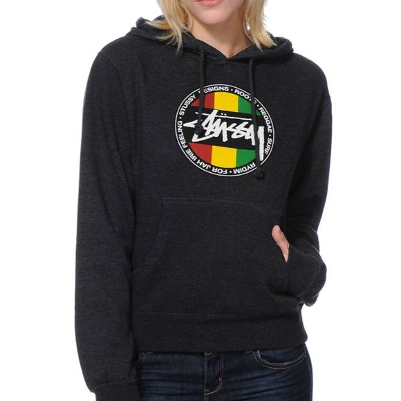 """Stussy Rasta Surf Hoodie - Small Womens """"Rasta Surf"""" hoodie from Zumiez. Like new, only worn a couple times. Size small. The hoodie itself is grey in color while the logo is Rasta. Thanks for looking! Stussy Tops Sweatshirts & Hoodies"""