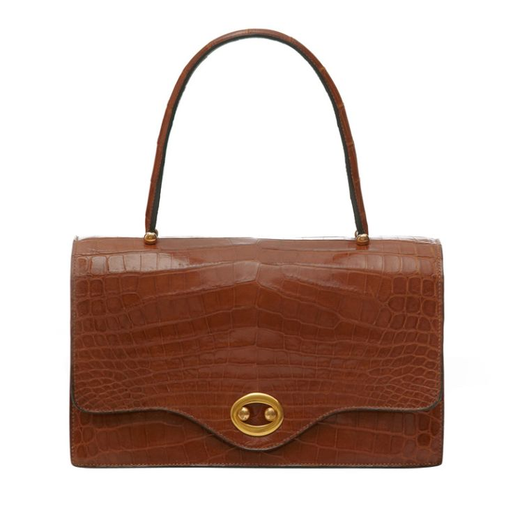1960's Brown Hermes Crocodile Handbag | From a collection of rare vintage handbags and purses at http://www.1stdibs.com/fashion/accessories/handbags-purses/