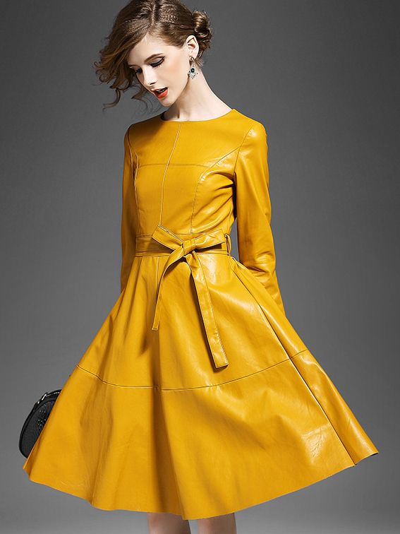 Yellow Leather Dress