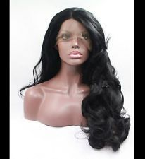 Long Black Natural Wavy Lace Front Wig Women's Wig Heat Resistan Synthetic Hair