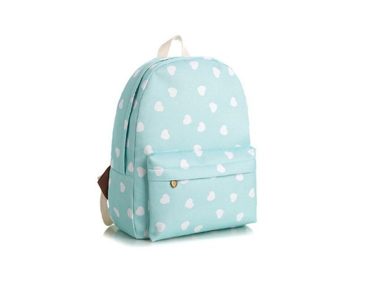 Backpacks – School backpack mint small hearts cute adorable – a unique product by MoodyMood on DaWanda