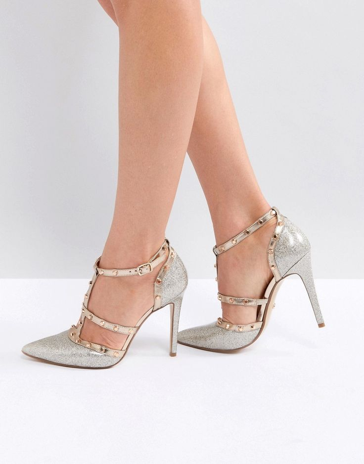 DUNE LONDON DEANERYS STUDDED CAGED POINTED COURT SHOE - GOLD. #dune #shoes #