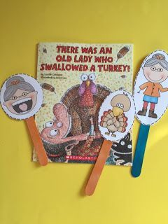 Old Lady Who Swallowed a Turkey! ~ Preschool Printables- I have added black and white pages.