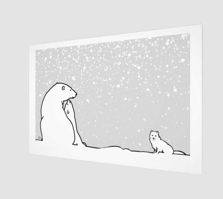 polar bear family and arctic fox grey version preview
