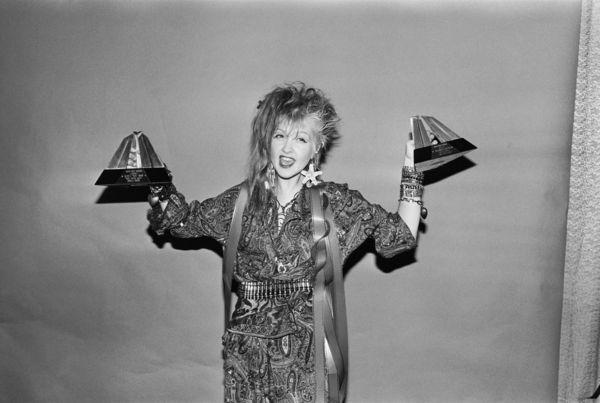 Singer Cyndi Lauper Holding Music Video Awards