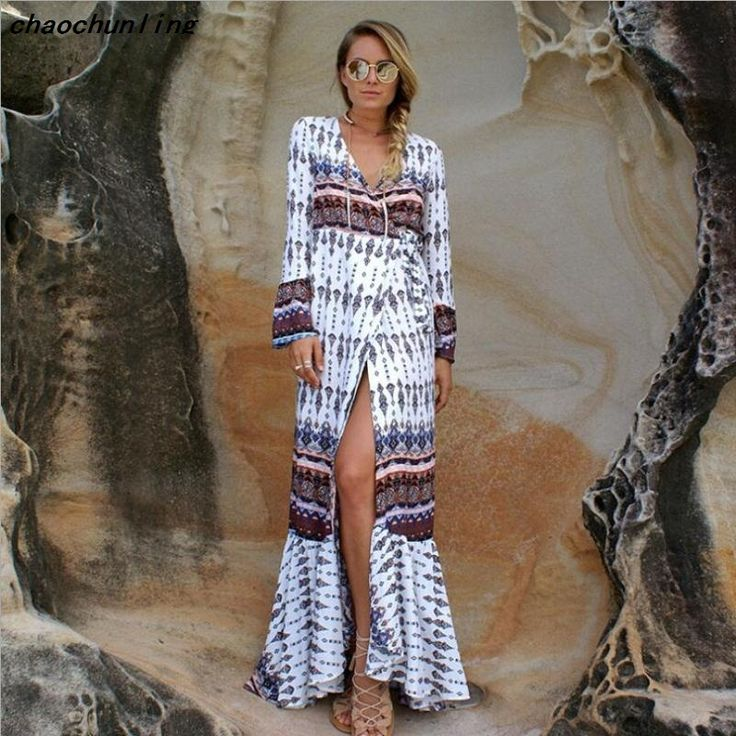 ==> [Free Shipping] Buy Best 2017 Hot Sales Product Beach Long Dress Printing Summer Dress Fashion Women Dress V collar Cotton Women Sexy Long Ladies Dress Online with LOWEST Price   32811840265