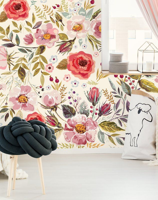 Mansfield Removable Vintage Berries Flowers 10 L X 120 W Peel And Stick Wallpaper Roll Peel And Stick Wallpaper Wallpaper Roll Removable Wallpaper
