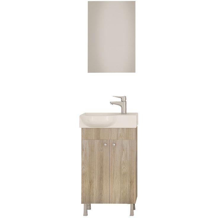 "DP Floor Standing Bath Vanity Cabinet Set 17.7"" Single Sink W/ Frameless Mirror"