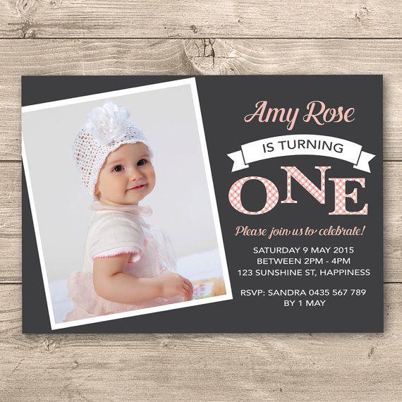 Girls First Birthday Invitation Digital File  by InkandCardDesigns