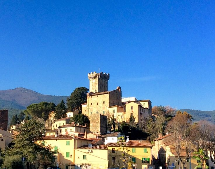 The Medieval town of Vicopisano gleams under the winter sun