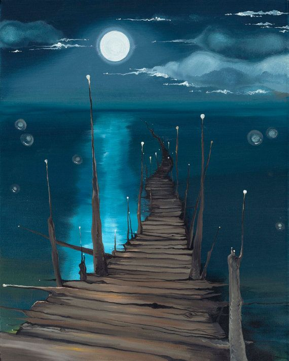 Dock to the Moon  giclée print on canvas by elementerra on Etsy, $190.00
