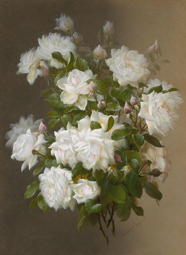 WHITE ROSES, BY RAOUL MAUCHERAT DE LONGPRE