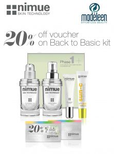 Get a 20% discount on Nimue Skin Technology in the latest issue of the Glamour South Africa magazine!  Nimue have included a 20% off voucher on the Back to Basic kit and you can redeem it at Madeleen Health & Beauty Studio! We have stock of the kits as well as other fantastic Nimue products.   Its a not-to-be-missed promotion!!!