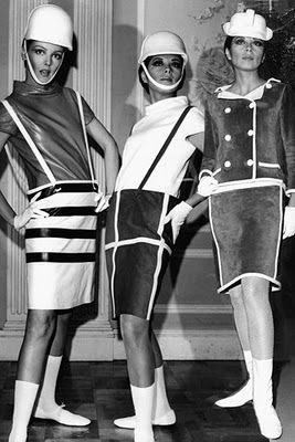 """André Courrèges designer in 1960s. According to wikipedia, he was famous with his """"Sapce Age"""". He used two contracted colour - black and white. This was interesting as two colour of universe."""