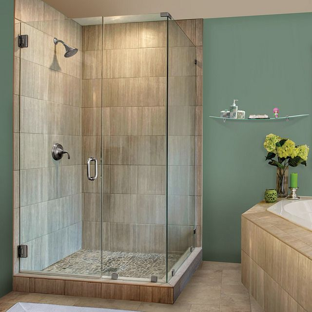 Clear Glass Hinged Shower Door : Ideas about glass shower doors on pinterest