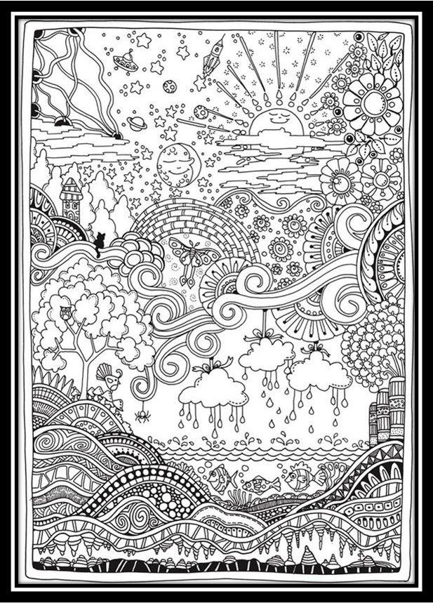 dibujos de paisajes para colorear e imprimir para adultos | color