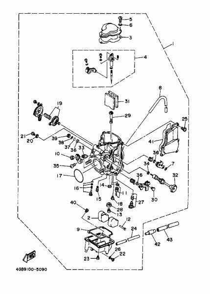 1997 Yamaha Big Bear 350 2wd Yfm350uj Carburetor Parts