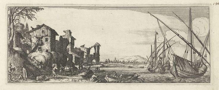Anonymous | Haven, Anonymous, 1618 - 1670 | Enkele huizen aan de rand van een baai. Rechts drie schepen en enkele sloepjes in het water nabij de kade. Deze prent is onderdeel van een serie van vier lanschapsprenten.